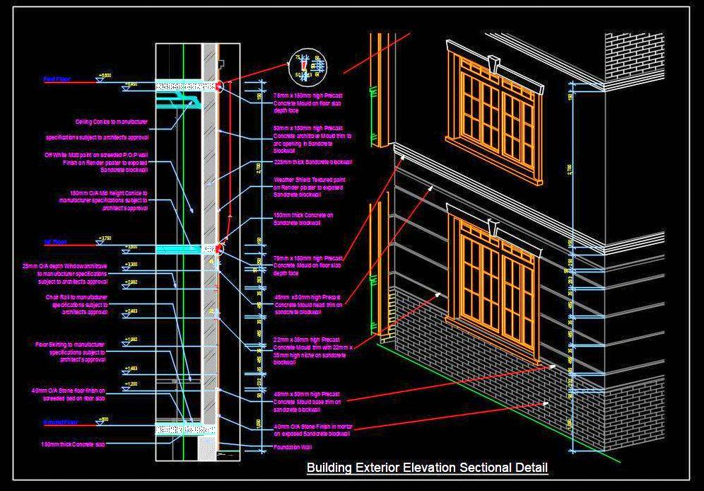 Building Facade Elevation Architecture Working Drawing DWG details