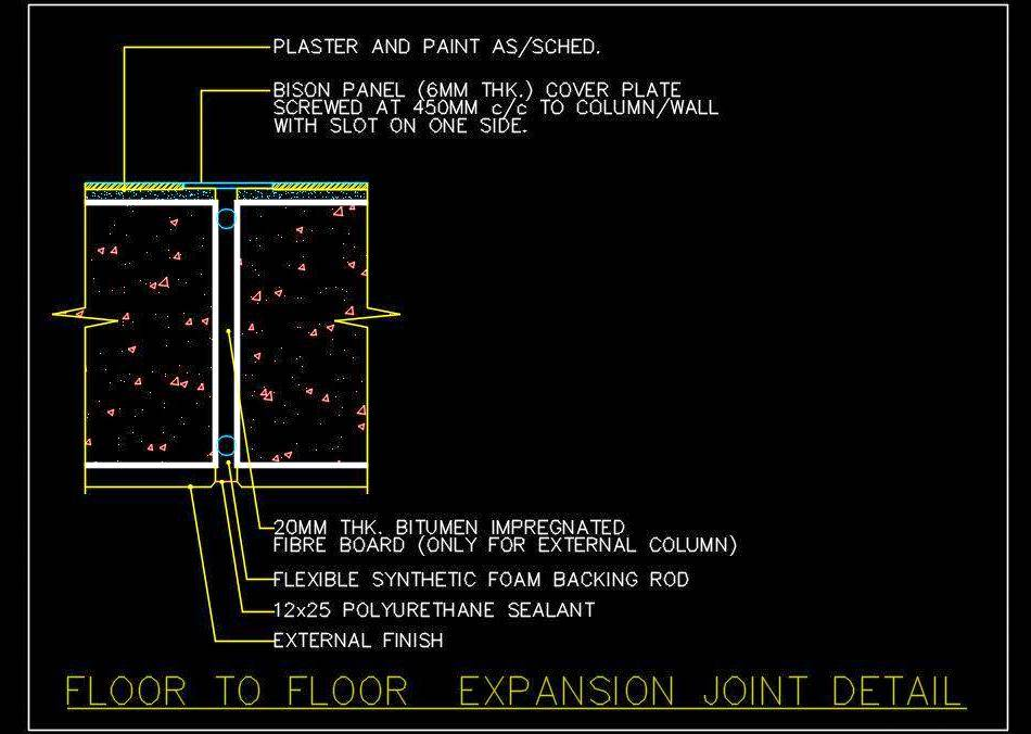 Floor Expansion Joint Cad Drawing DWG Free Download