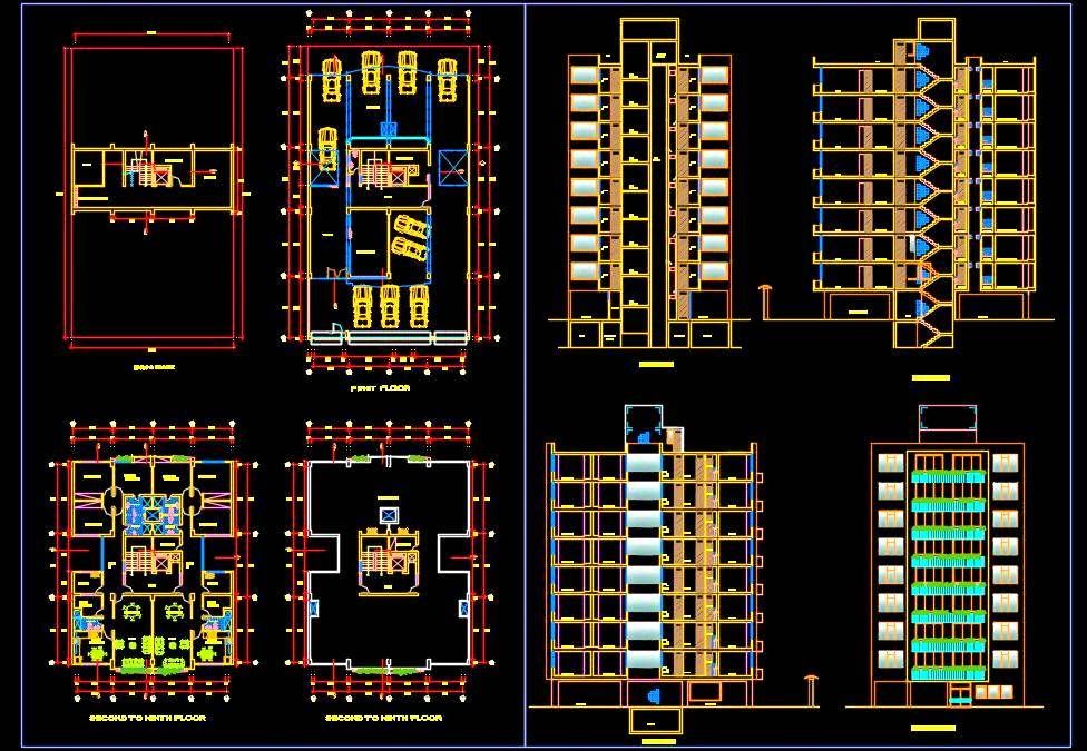 Multi-Family Residential Building Design Cad DWG Drawing