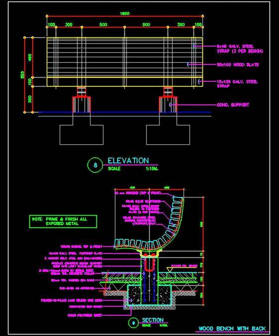 Outdoor Wooden Bench DWG Drawing Cad Detail