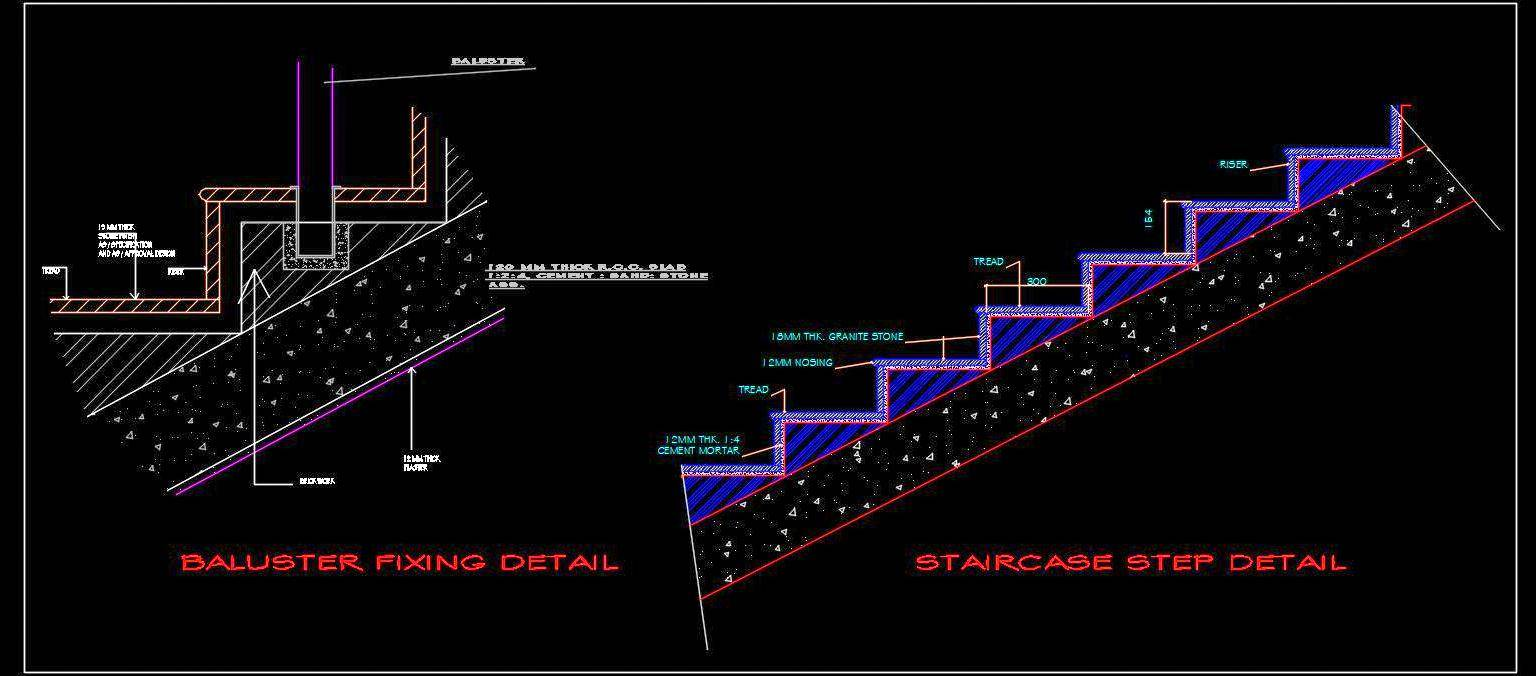 Staircase Steps and Baluster Fixing Detail DWG Free Download
