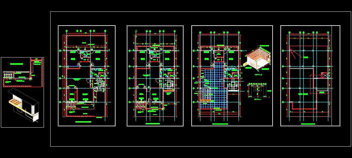 Autocad House Plan Architectural DWG Drawing Download 35'x70' G+2 Floor