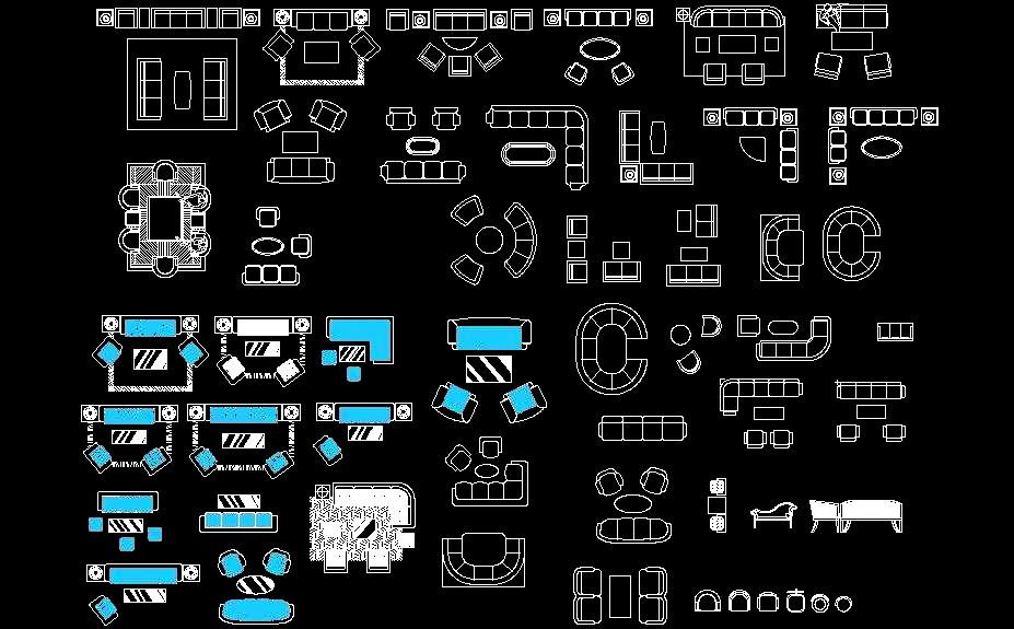 Sofa Plan CAD Blocks- DWG Drawing Download