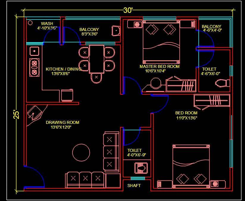 2 BHK Apartment Autocad House Plan (30'x25') DWG Drawing Download