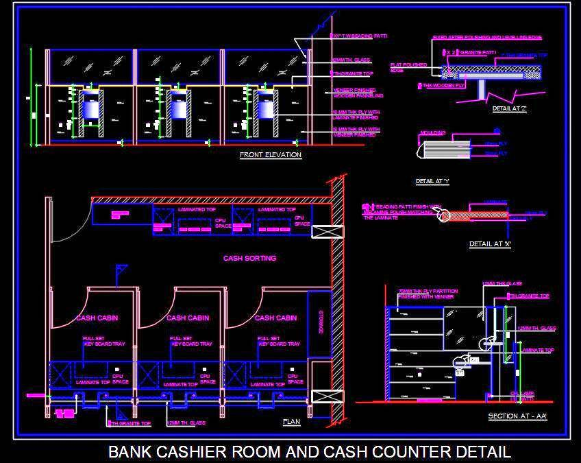 Bank Cashier Room and Cash Counter DWG Interior Detail