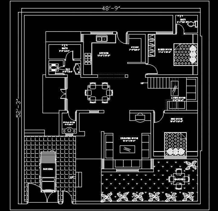Autocad House Plan Free DWG Drawing Download 50'x50'