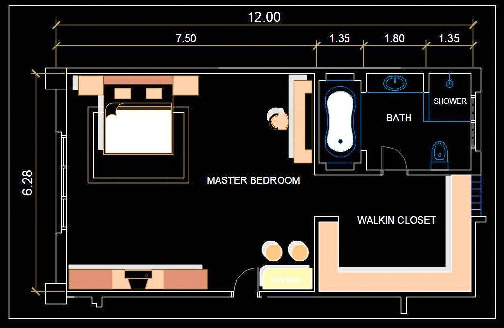Bedroom Interior Layout Presentation Plan Free DWG File