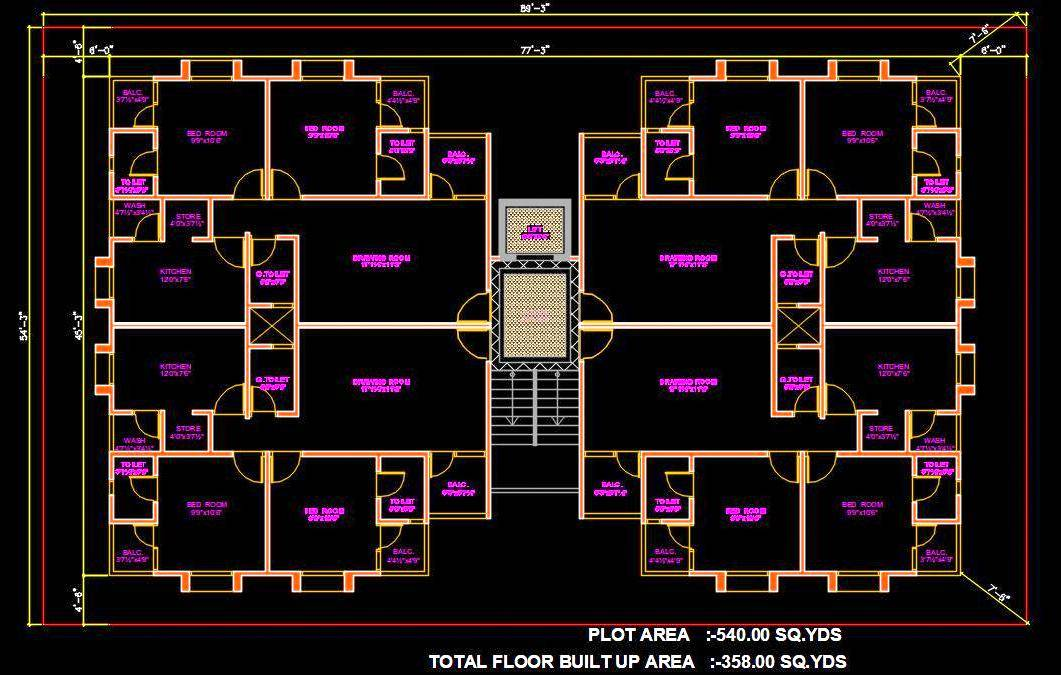 Group Housing Tower Design 2 BHK Apartment Free DWG Download