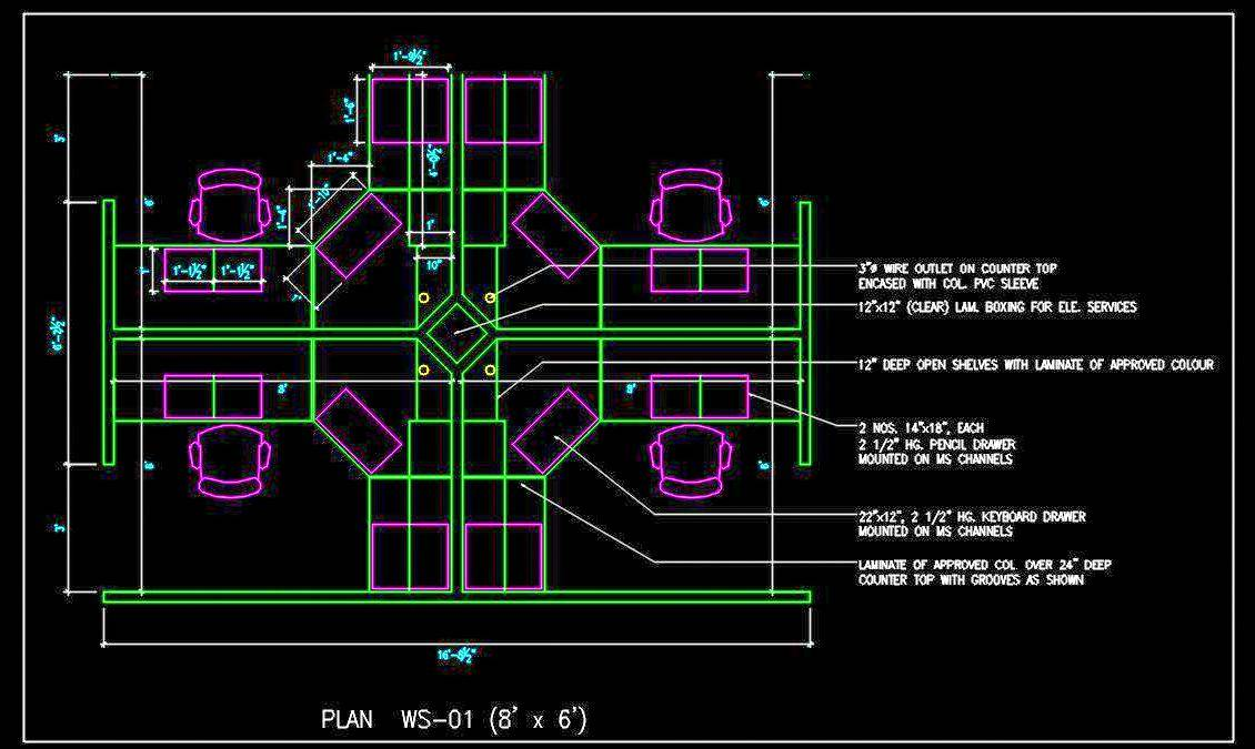 Office Cubicle Cad Block Free Download