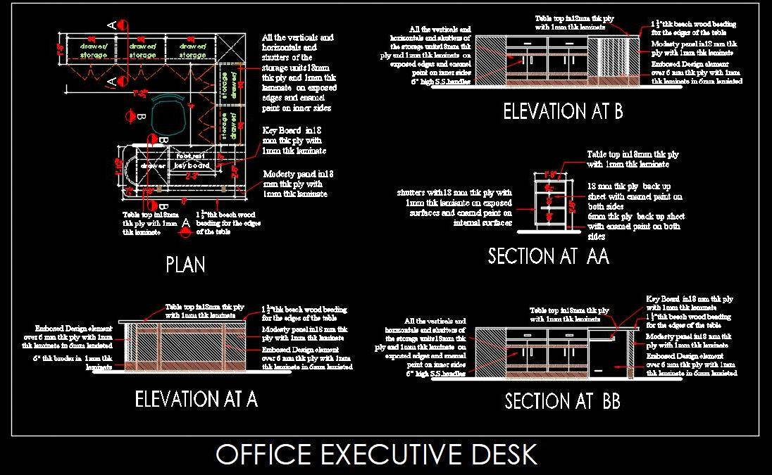 Office Executive Desk Cad Working Drawing Detail