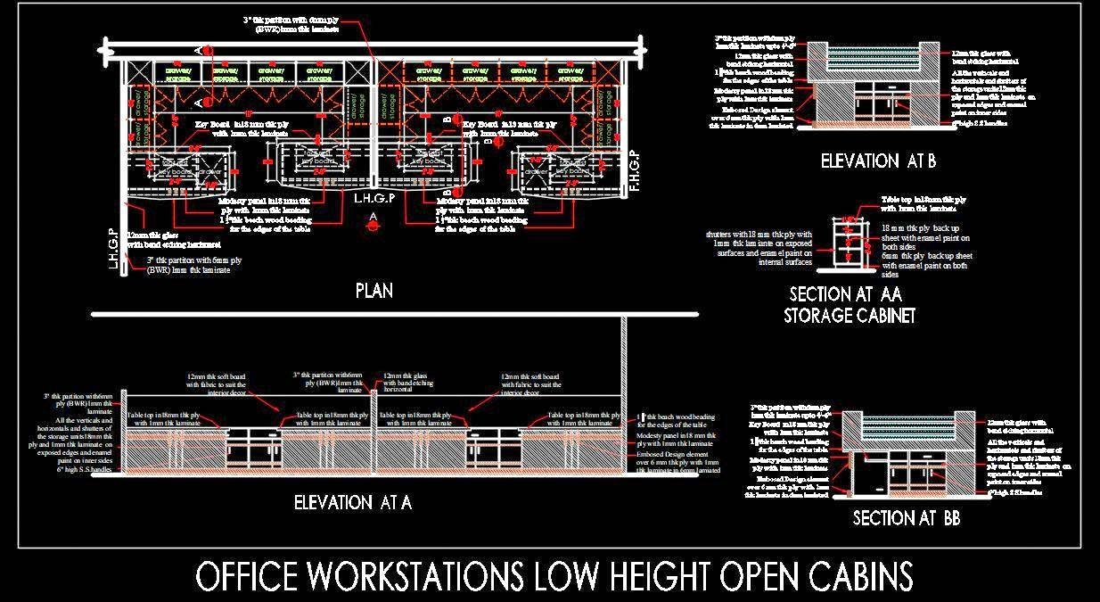 Office Workstation Low Height Cabins DWG Drawing
