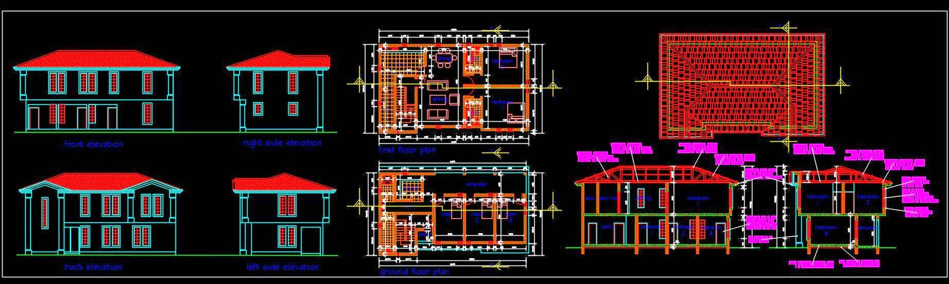 Timber Truss Roof Duplex House Free DWG File Download