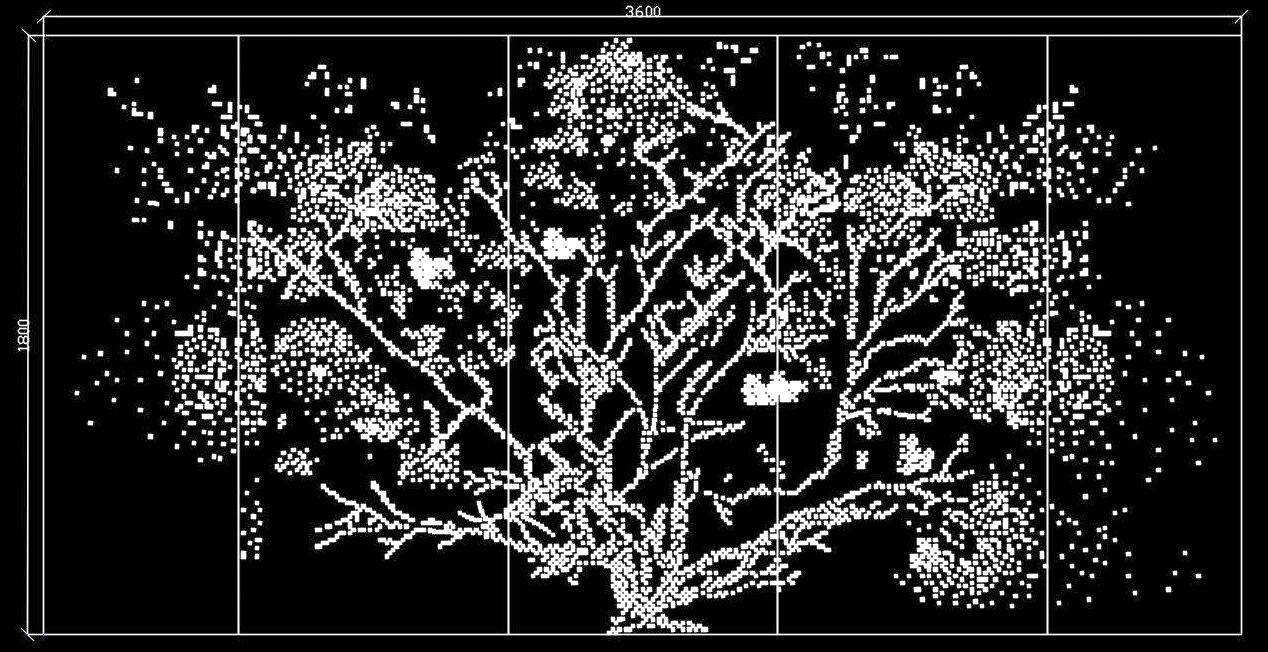 Tree Pattern Jali Design or Perforated Screen DWG File
