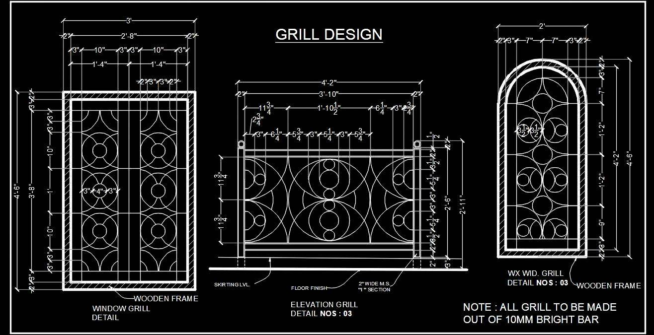 Cad Block of Window and Railing Grill Design