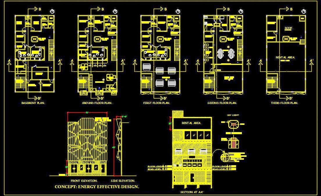 Bank Interior Layout Plans, Elevation and Section DWG File Download