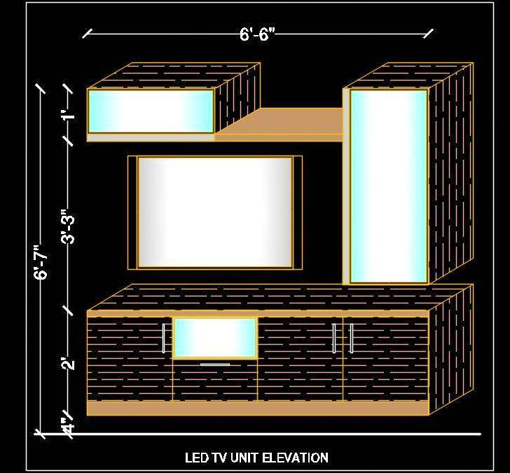 LED TV Unit 3d Elevation Design Free Cad Block Drawing