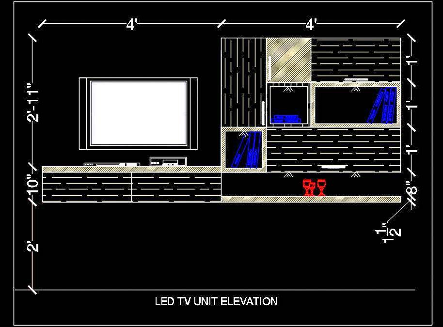 Modern Tv Unit Elevation Free Cad Block Download Autocad Dwg Plan N Design