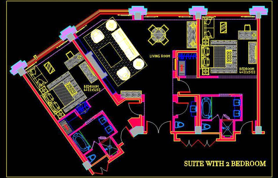 Hotel Suite Room with 2 Bedroom DWG Furniture Layout Plan