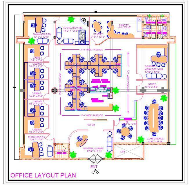 Office Furniture Layout Plan DWG Drawing Download (65'x65')