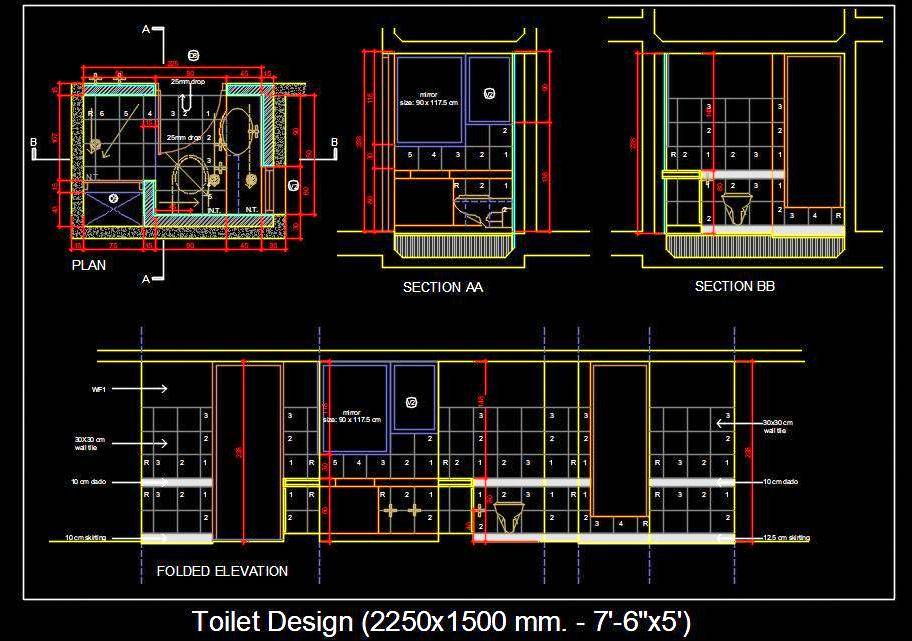 Toilet Design (2250x1500 mm. - 7'-6''x5') DWG Plan and Elevation