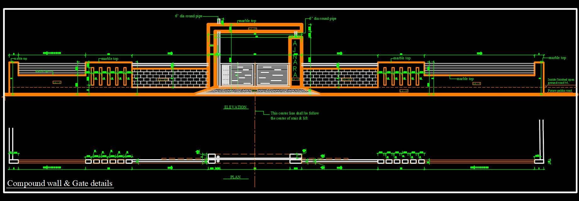 Compound Wall and Main Gate Design Cad Detail