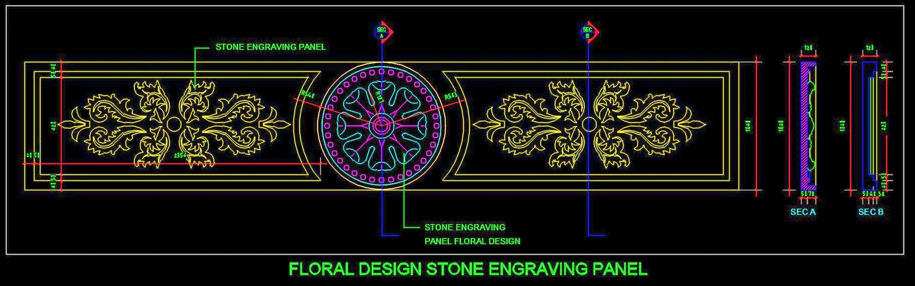 Floral Design Stone Engraving Panel DWG Drawing Detail