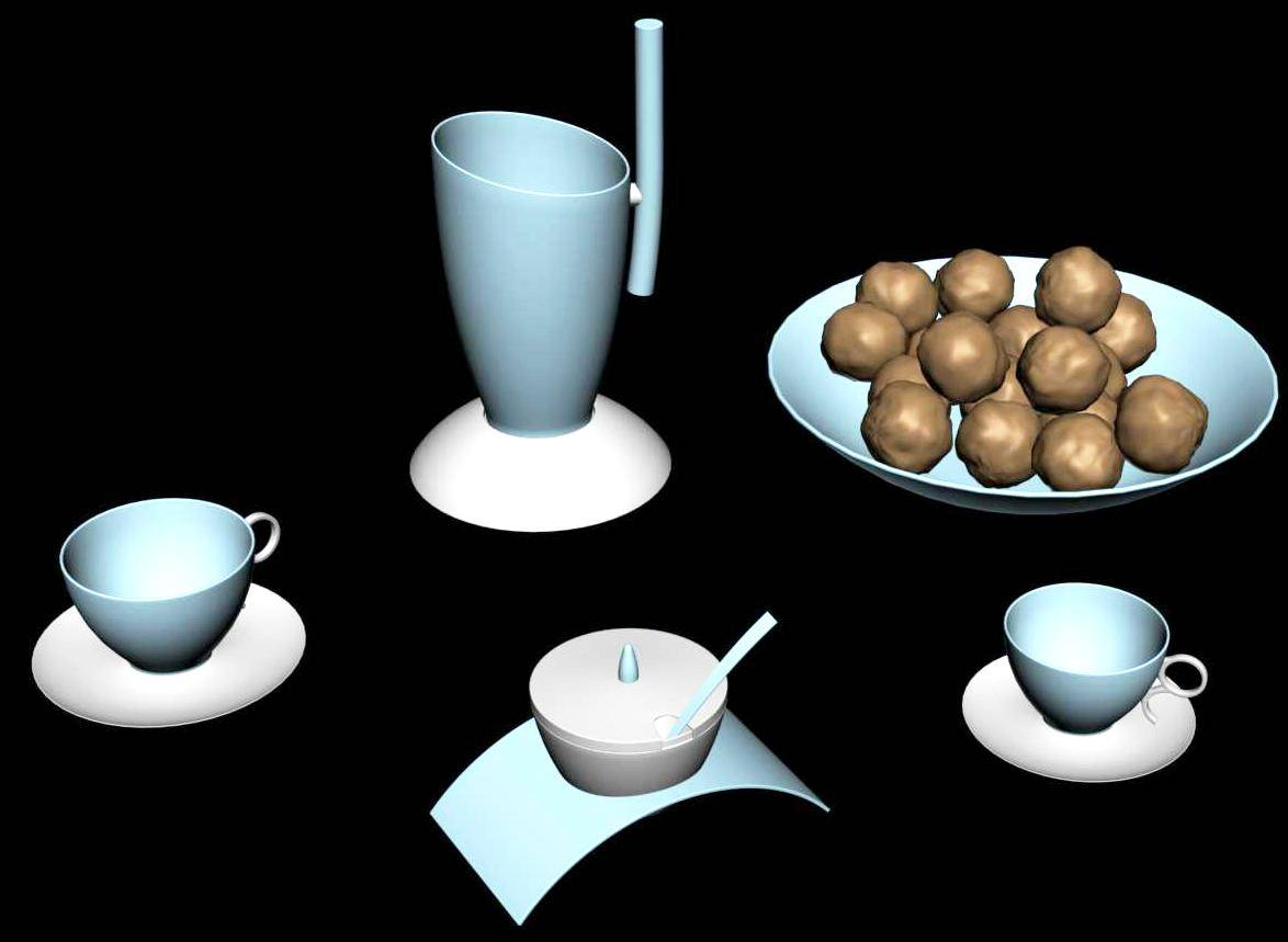 3d design of Tea Coffee Crockery
