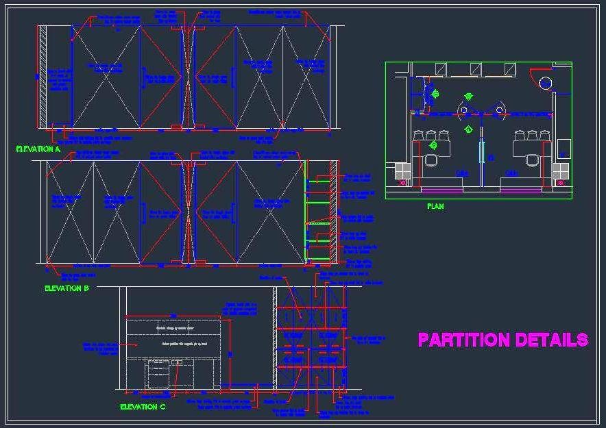 Executive Cabin furniture layout with detailed wall elevations