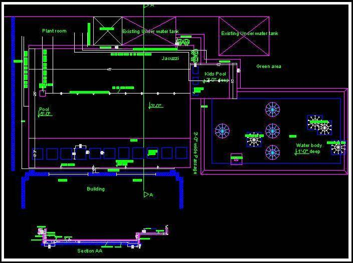 Swimming Pool Layout Plan And Section