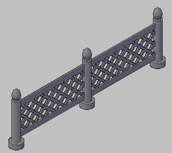 Railing with Jaali 3d view