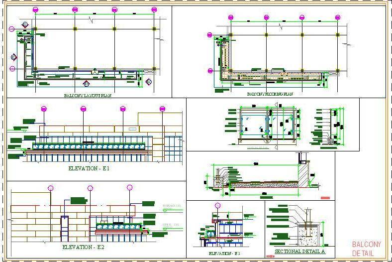 Balcony design with Stainless Steel and glass railing-  DWG Download