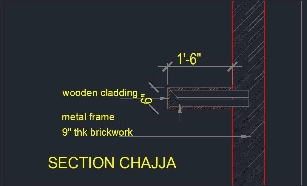 Projection detail with Metal Frame - Autocad DWG | Plan n Design