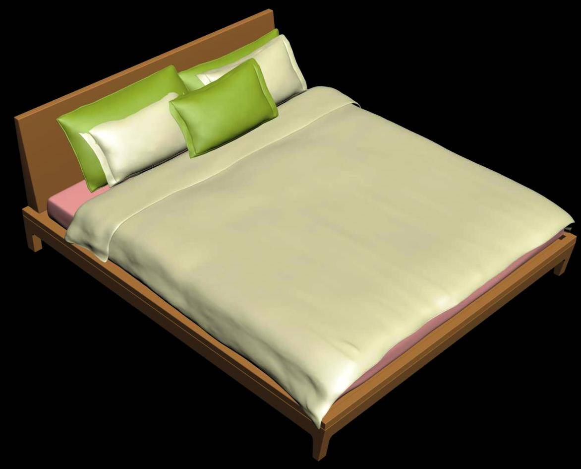 Wood Design Double Bed 3d Model
