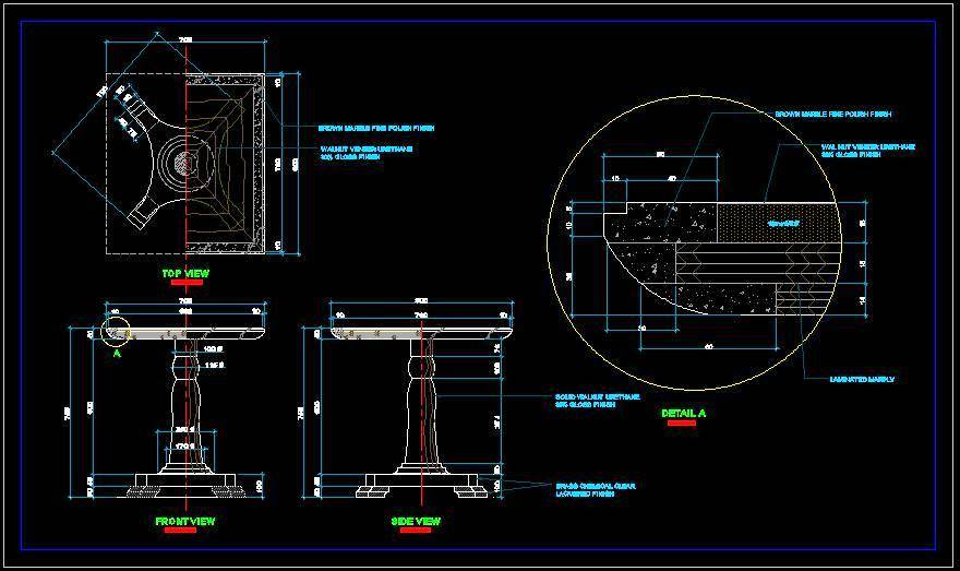 Classic pedestal base Dining table - Autocad DWG | Plan n ...