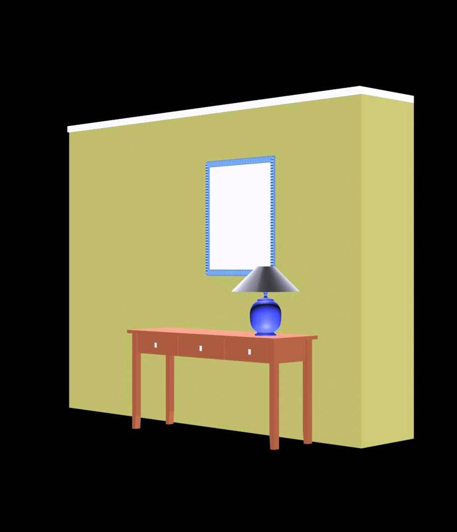 Console Mirror Table Lamp 3d Model