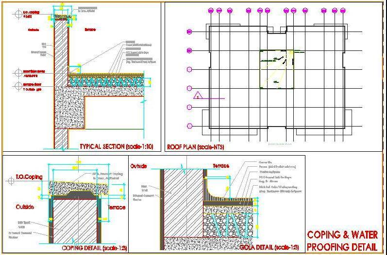 Terrace Parapet Wall Coping and Water Proofing Detail DWG