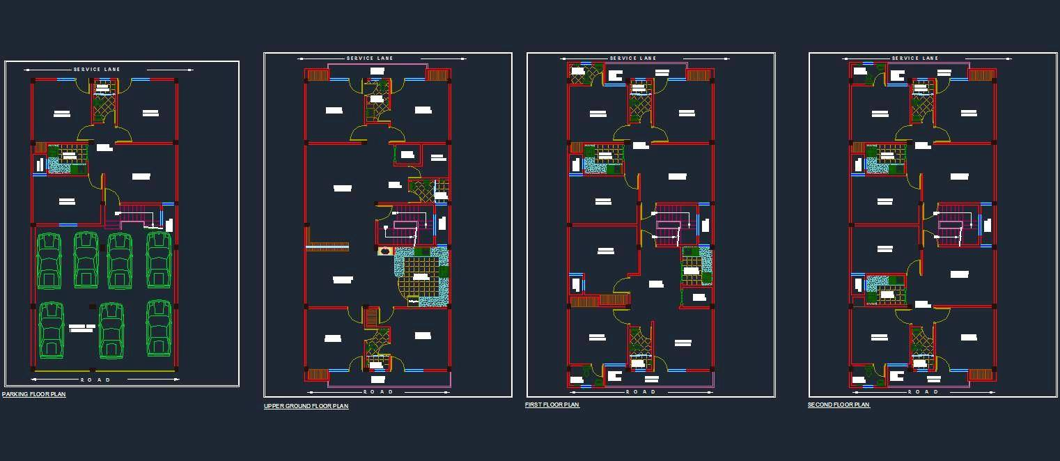 Four storey Independent House planning 30'x60'