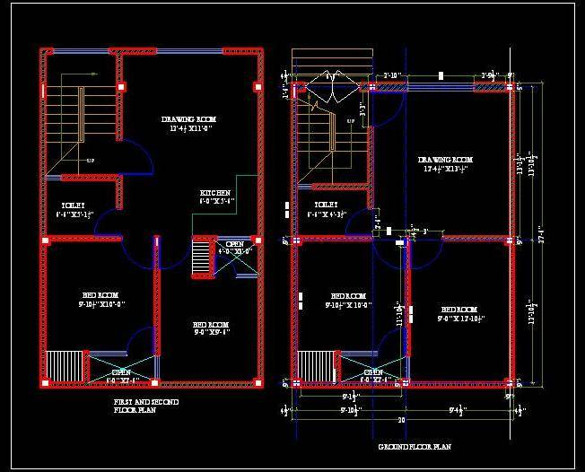 House Space Planning 20'x25' Floor Plan Free DWG Download