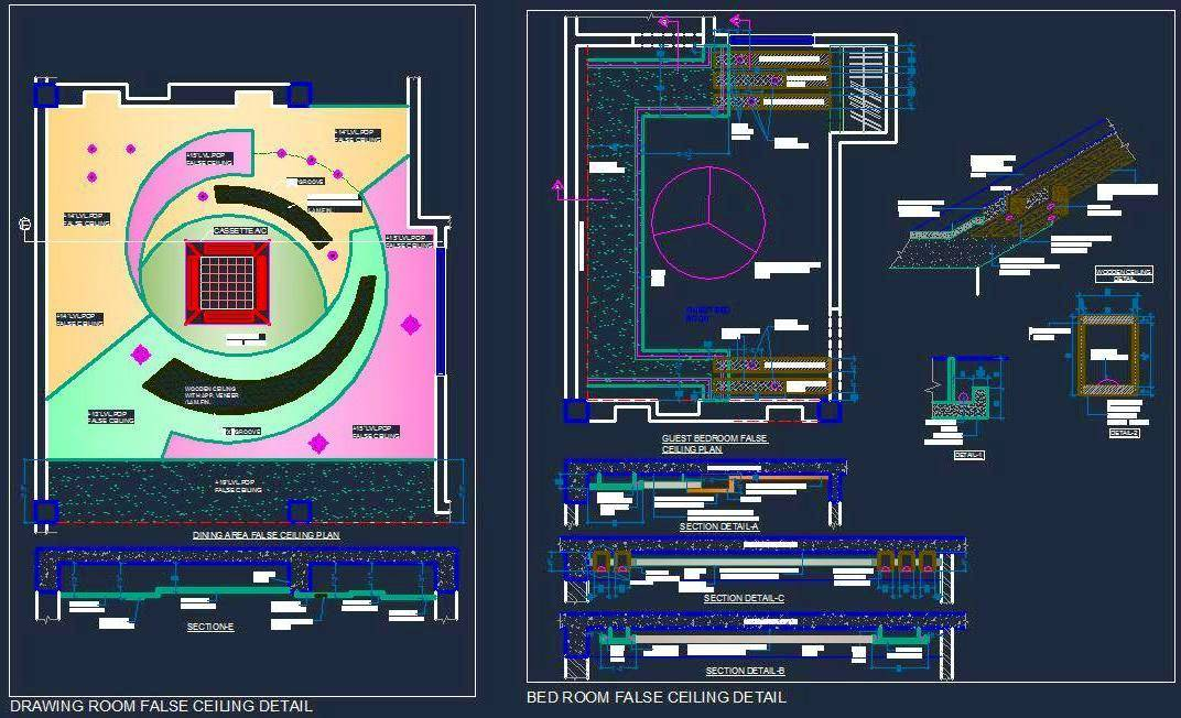 Designer False Ceiling Of Drawing And Bed Room Autocad Dwg Plan N Design