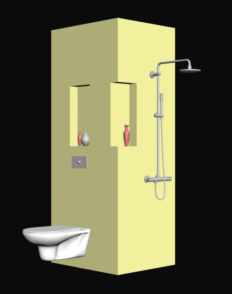 WC and Shower Panel 3d