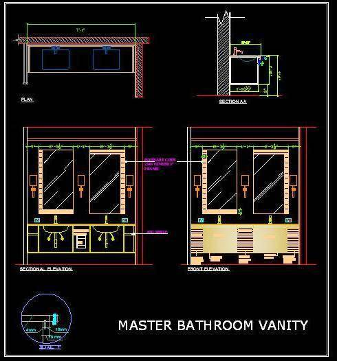 Vanity Design For Double Basin Counter Autocad Dwg Plan N Design