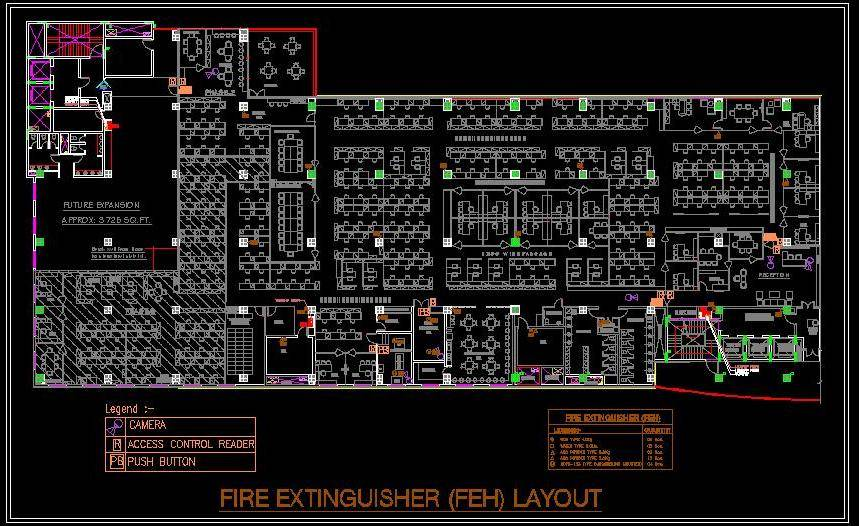 Corporate office Furniture and fire extinguisher Layout