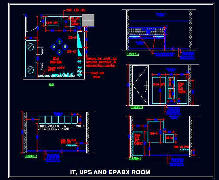 Server Room (UPS, EPABX, IT) layout with wall elevations