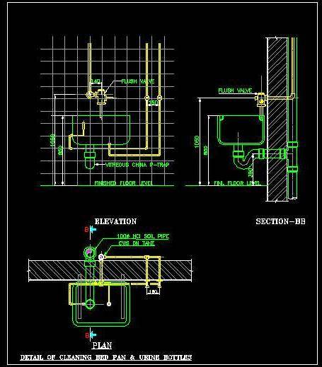 Bed Pan Washer Plumbing Detail - Autocad DWG | Plan n Design