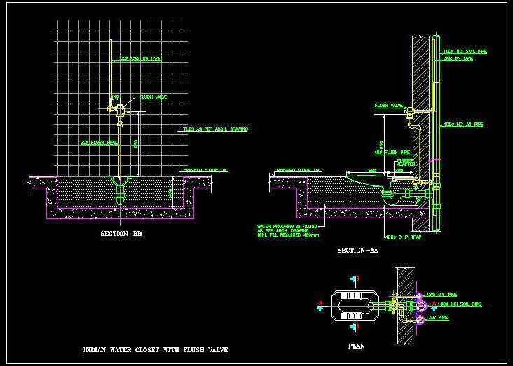 Indian WC with Flush Valve Detail - Autocad DWG | Plan n Design