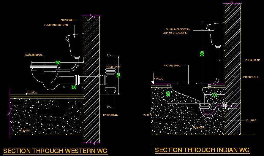 Typical Section of WC - Autocad DWG | Plan n Design