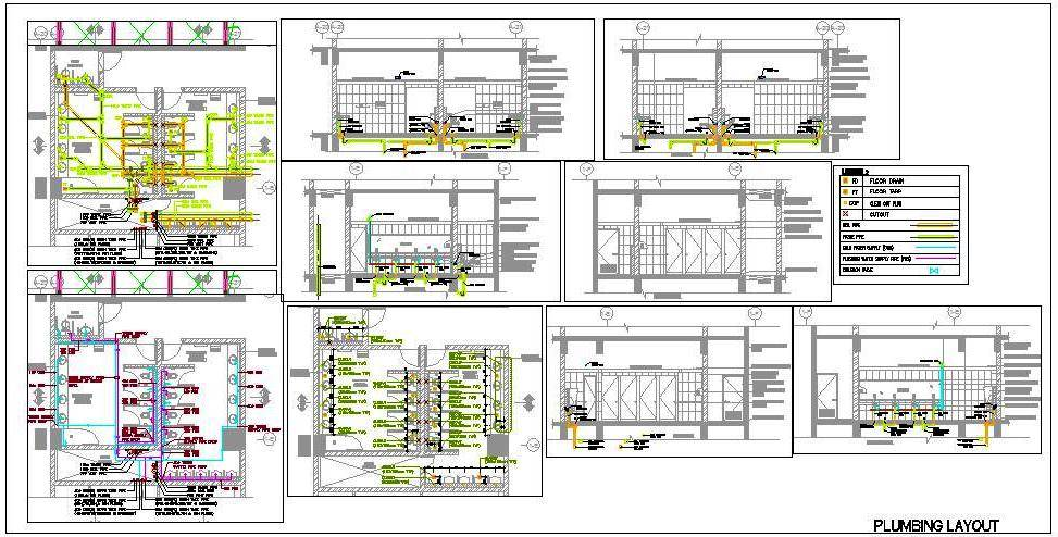 Toilet Plumbing Design, Supply, Drainage System - Autocad