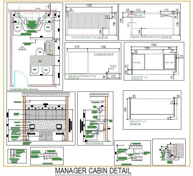 Bedroom Elevations Interior Design Elevation Blocks What: Manager Cabin Interior Design - Autocad DWG