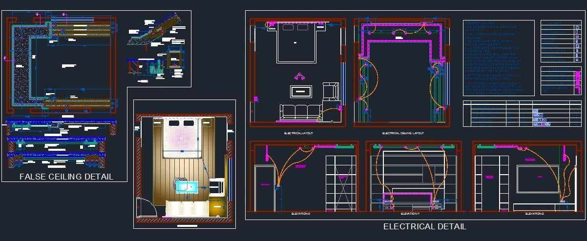 Bedroom Electrical and False Ceiling Design
