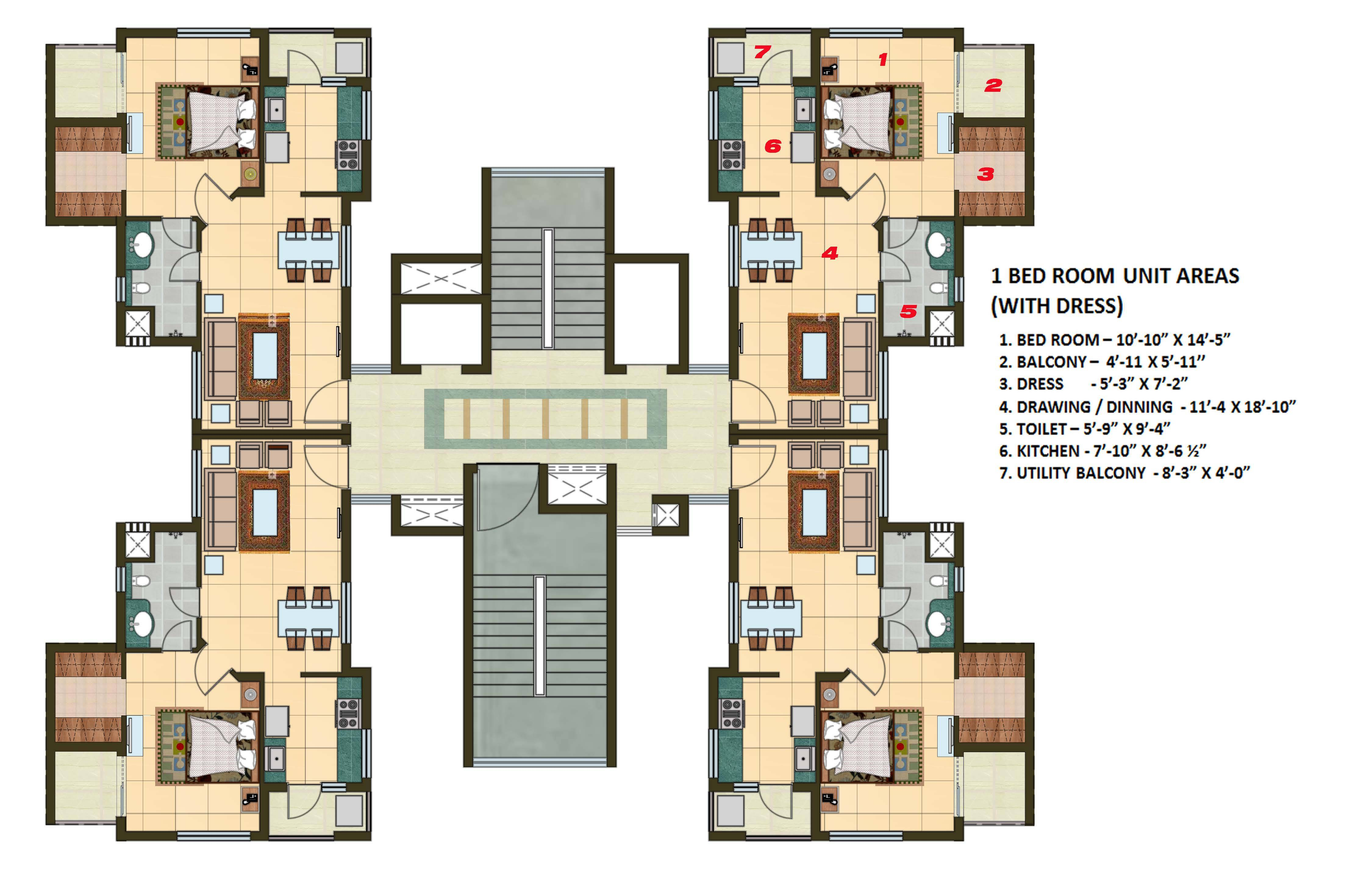 1 BHK Apartment Cluster Tower Layout